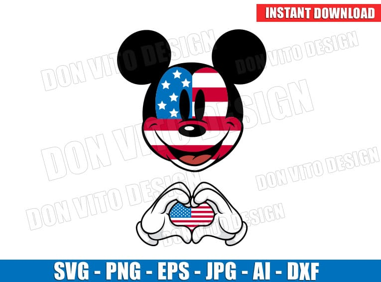 Mickey Mouse 4th of July USA Flag Hands Heart (SVG dxf png) Cut Files Image Vector Clipart - Don Vito Design Store