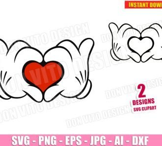 Mickey Mouse Hands making Heart (SVG dxf PNG) SVG cut files PNG image vector clipart - DonVitoDesign Store