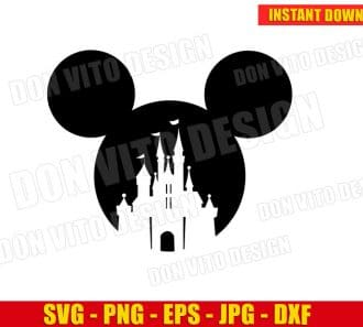 Mickey Mouse with Disney Castle SVG dxf png cut files image vector clipart - DonVitoDesign Store -