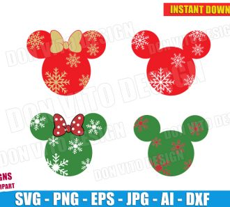 Mickey Minnie Mouse Snowflakes (SVG dxf png) cut files PNG image vector clipart - DonVitoDesign Store