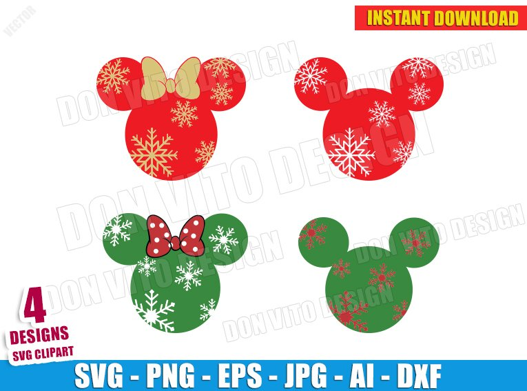 Mickey Minnie Mouse Snowflakes Svg Dxf Png Disney Christmas Cut