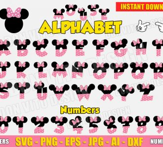 Minnie Mouse Alphabet Head Hands SVG dxf png cut files image vector clipart - DonVitoDesign Store -