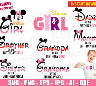 Minnie Mouse Birthday Party GIRL SVG dxf png cut files image vector clipart - DonVitoDesign Store -