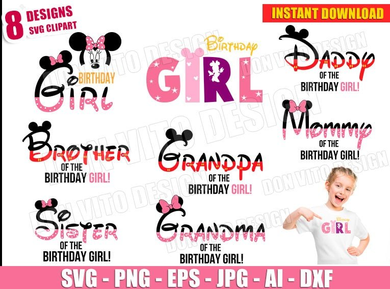 Minnie Mouse Birthday Party Girl Svg Dxf Png Disney Family Cut Files