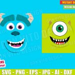Monsters Inc Mike & Sully Head Face (SVG dxf png) Disney Pixar Movie Vector Clipart Cut File T-Shirt Design Kids Boy Girl Birthday Party DIY