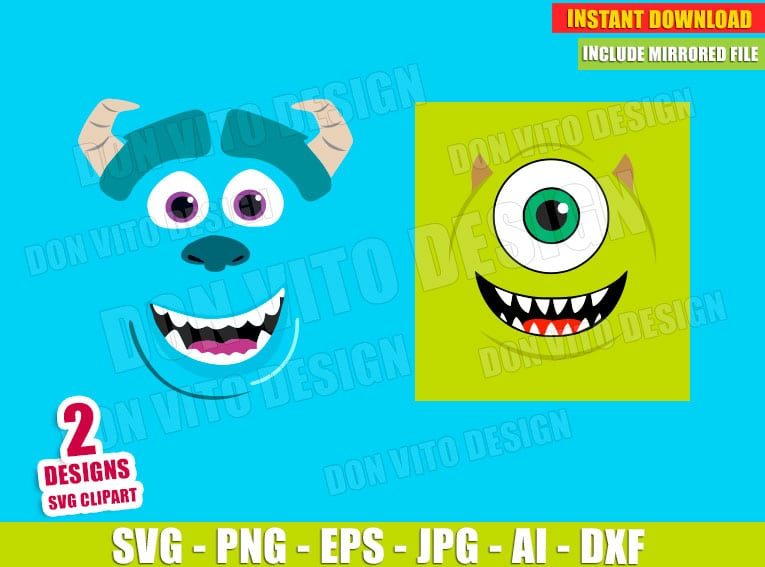 Monsters Inc Mike Sully Head Face SVG dxf png cut files image vector clipart - DonVitoDesign Store -