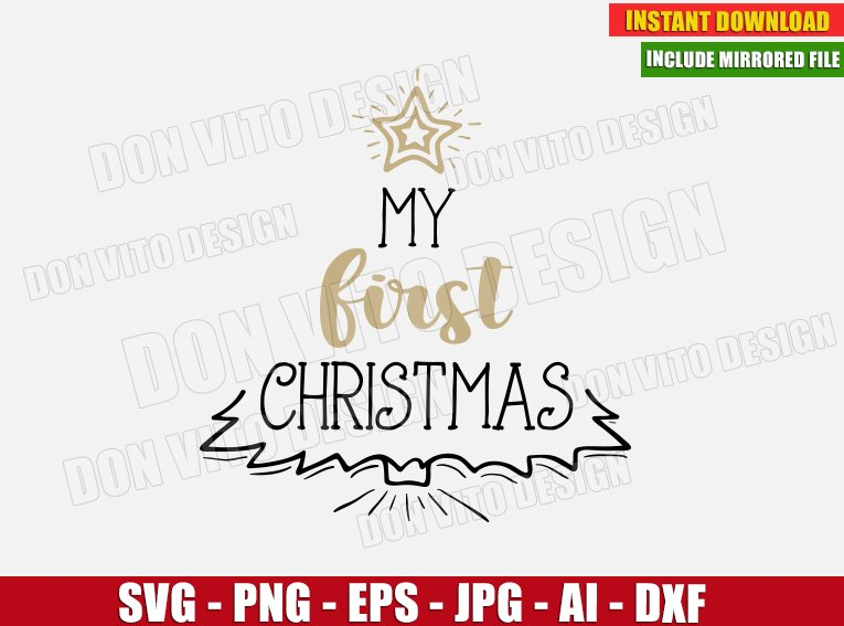 Download My 1St Christmas / Svg Png Dxf PNG