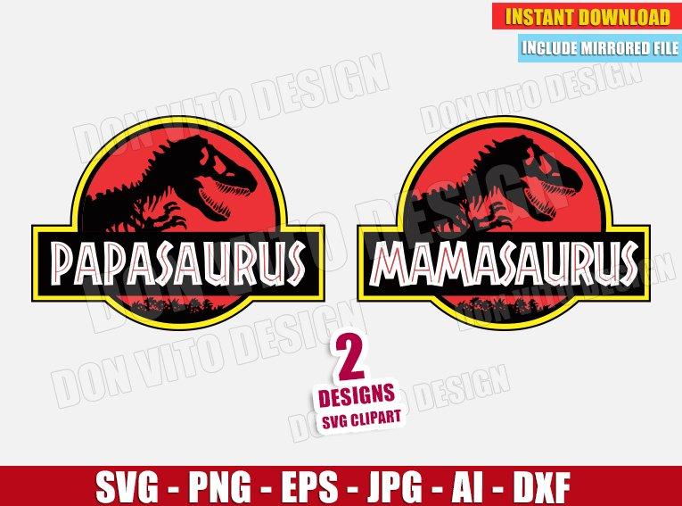 Papasaurus Mamasaurus Jurassic Park Logo Svg Dxf Png Cut Files
