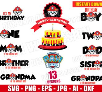 Paw Patrol Birthday Party Boy Bundle SVG png cut files image vector clipart - DonVitoDesign Store -