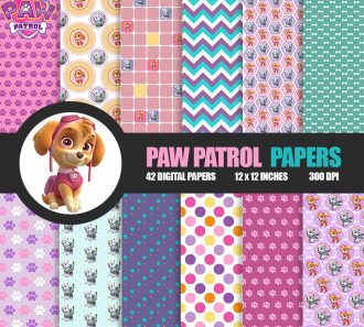 42 Paw Patrol Digital Papers JPG image clipart - Don Vito Design Store