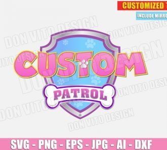 Paw Patrol Logo Customised Pink (SVG dxf png) cut files PNG image vector clipart - DonVitoDesign Store