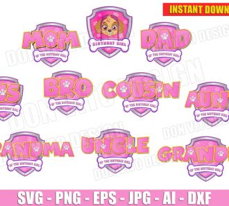Paw Patrol Pink Logo Family Girl Bundle (SVG dxf png) cut files PNG image vector clipart - DonVitoDesign Store