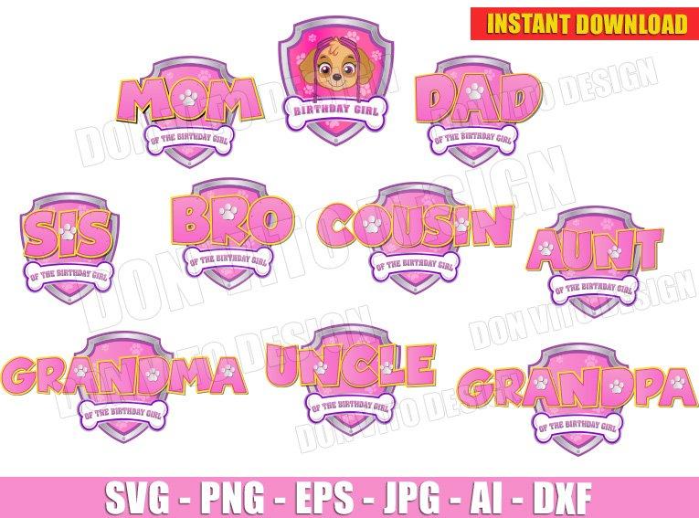 Paw Patrol Pink Logo Family Girl Bundle Svg Dxf Png Birthday Skye Cut