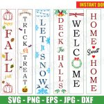 Seasonal Welcome Sign Bundle (SVG dxf png) Vertical Porch Sign Home Decor Fall Halloween Christmas Vector Clipart Cut Files stencil Designs