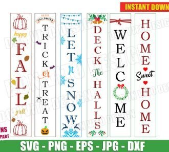 Seasonal Welcome Sign Bundle (SVG dxf png) cut files png image vector clipart - DonVitoDesign Store