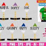Seven Dwarfs (SVG dxf png) Disney Snow White Movie Cut Files Vector Clipart Costume Hat Belt Dopey Grumpy Happy Doc T-Shirt Design Kids DIY
