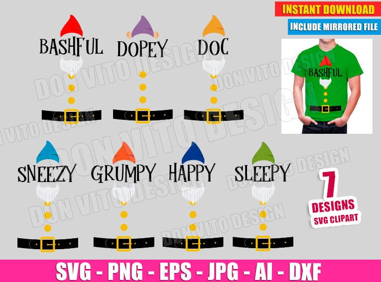 Seven Dwarfs SVG dxf png cut files image vector clipart - DonVitoDesign Store -