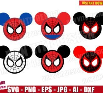 Spiderman Mickey Mouse Head Ears (SVG dxf png) SVG cut files PNG image vector clipart - DonVitoDesign Store
