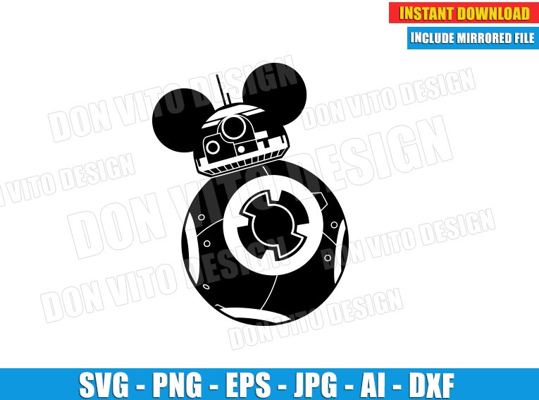 Star Wars BB8 with Mickey Mouse Ears (SVG dxf png) cut files PNG image vector clipart - DonVitoDesign Store