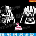 Star Wars Day Logo Darth Vader Head (SVG dxf png) May The Fourth Be With You Cut Files Vector Clipart T-Shirt Design Boy vinyl decal stencil