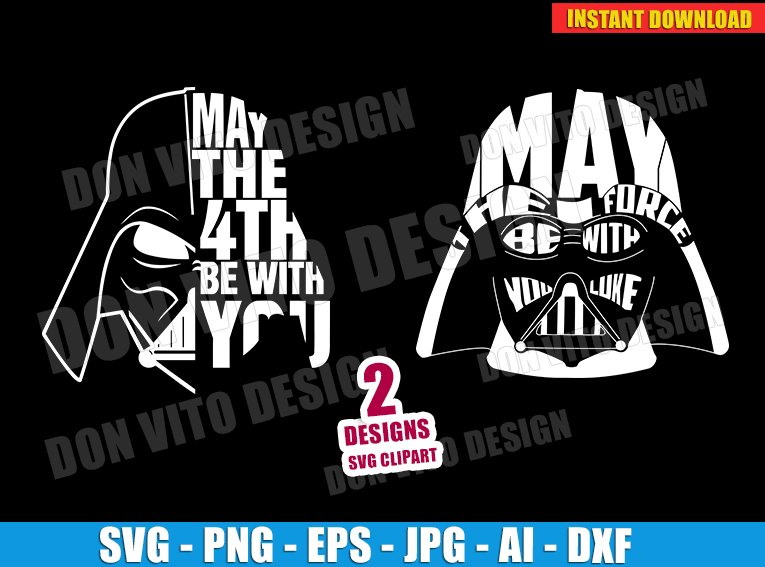 Star Wars Day Logo Darth Vader Head (SVG dxf png) cut files PNG image vector clipart - DonVitoDesign Store