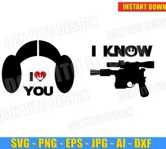Star Wars I Love You I Know (SVG dxf png) cut files PNG image vector clipart - DonVitoDesign Store