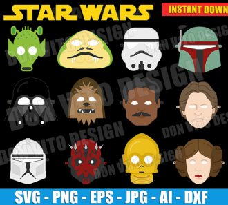 Star Wars Mask Birthday Party (SVG dxf png) cut files PNG image vector clipart - DonVitoDesign Store