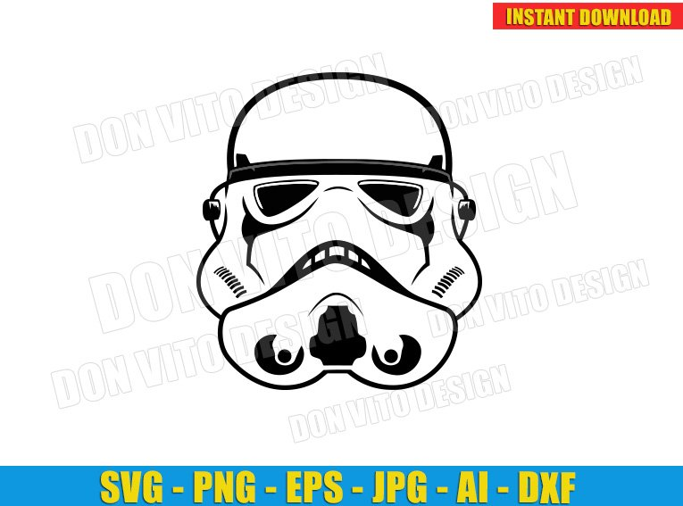 Star Wars Stormtrooper Helmet (SVG dxf png) cut files PNG image vector clipart - DonVitoDesign Store