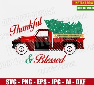 Thankful & Blessed Christmas Truck Tree (SVG dxf png) cut files PNG image vector clipart - DonVitoDesign Store