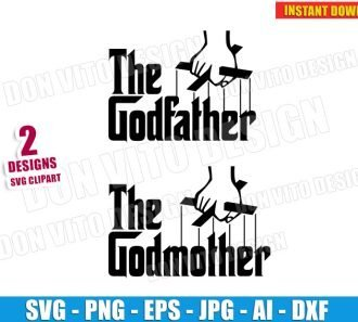 The Godfather & The Godmother (SVG dxf png) SVG cut files PNG image vector clipart - DonVitoDesign Store