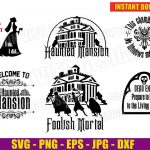 The Haunted Mansion (SVG dxf png) Disney Movie Hitchhiking Ghosts Cut Files Silhouette Cricut T-Shirt Family Halloween Design Vector Clipart