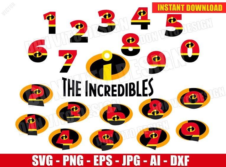 The Incredibles Numbers Svg Dxf Png Disney Pixar Movie Cut Files