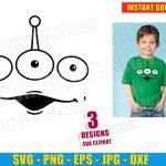 Toy Story Alien Face Pixar (SVG dxf png) Disney Movie Vector Clipart Cut Files Silhouette Cricut T-Shirt Design Vinyl Decal Stencil Kids DIY