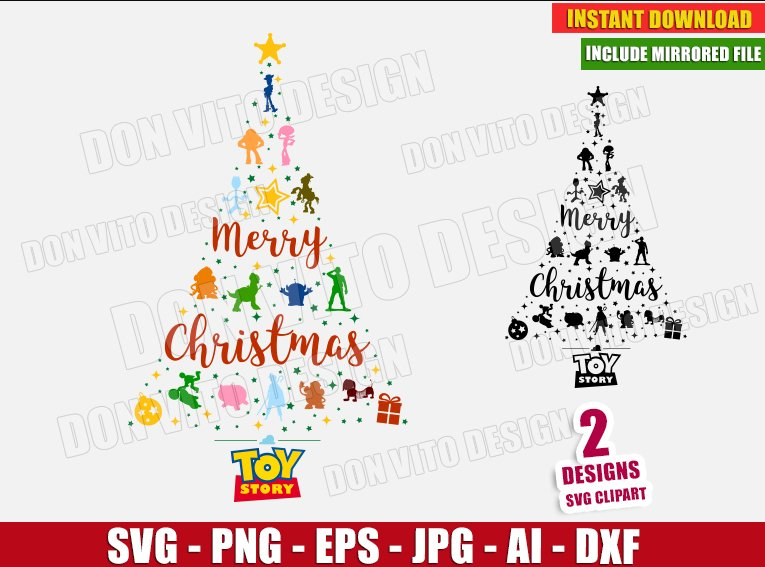 Toy Story Christmas Tree (SVG dxf png) - cut files PNG image vector clipart - DonVitoDesign Store
