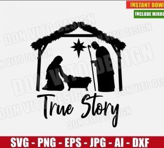 True Story Nativity Scene (SVG dxf png) cut files PNG image vector clipart - DonVitoDesign Store
