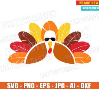 Turkey with Glasses SVG dxf png cut files image vector clipart - DonVitoDesign Store -