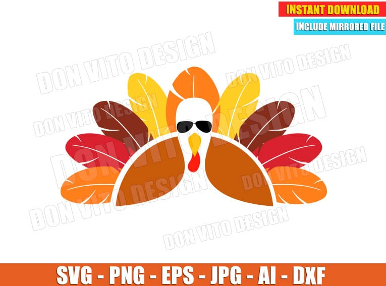 Turkey With Glasses Svg Dxf Png Holiday Thanksgiving Day Cut Files
