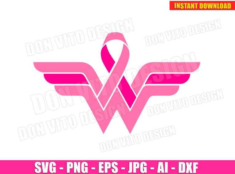 Wonder Woman Breast Cancer Awareness Svg Dxf Png Logo Cut Files