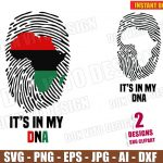 Africa It's in my DNA (SVG dxf png) Black History Month Cut Files Silhouette Cricut Vector Clipart T-Shirt Design Thumbprint African Map DIY