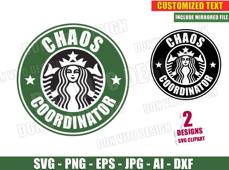 Chaos Coordinator Starbucks Logo Svg Dxf Png Coffee Cup Label Cut