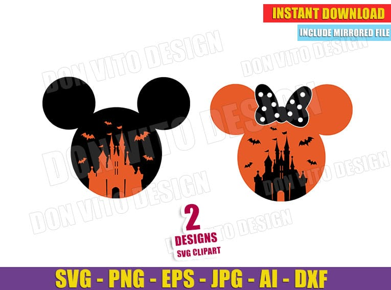 Disney Castle Halloween Svg Dxf Png Mickey Minnie Mouse Cut Files