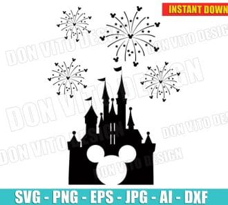 Disney Castle with Fireworks Mickey cut files PNG image vector clipart - DonVitoDesign Store