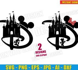Disney D Castle Mickey & Minnie Mouse cut files PNG image vector clipart - DonVitoDesign Store