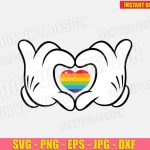 Disney LGTB Mickey Mouse Hands with Heart (SVG dxf PNG) Gay Pride Love Cut Files Vector Clipart Cricut Silhouette T-Shirt Design Boy Girl