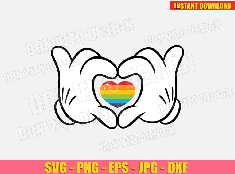 Disney LGTB Mickey Mouse Hands with Heart (SVG dxf PNG) cut files image vector clipart - DonVitoDesign Store