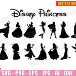 Disney Princess Bundle (SVG dxf png) Cinderella Frozen Snowhite Mulan Jasmine Vector Clipart Cut Files Cricut Silhouette T-Shirt Design Birthday Girl