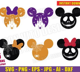 Halloween Mickey Mouse Head Bundle (SVG dxf png) Cut Files Image Vector Clipart - Don Vito Design Store