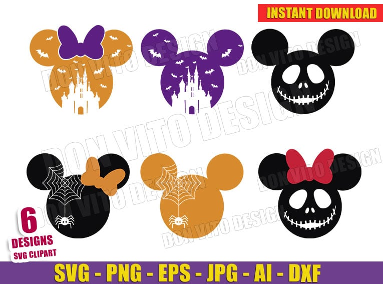 Halloween Mickey Mouse Head Bundle Svg Dxf Png Disney Castle Cut