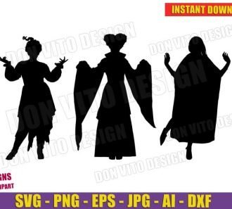 Halloween Sanderson Sisters Silhouettes (SVG dxf png) Cut Files Image Vector Clipart - Don Vito Design Store