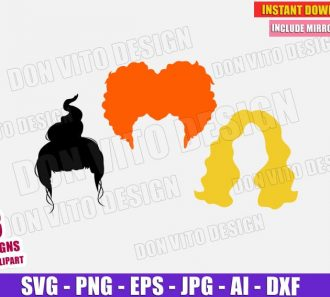 Hocus Pocus Hair Mary Sarah Winifred (SVG dxf png) Cut Files Image Vector Clipart - Don Vito Design Store